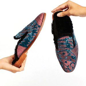 NIB Free People Butterfly Mules Plush Lined Velvet